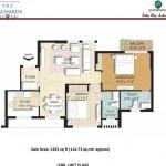 2 BR Floor Plan 1235 SQFT